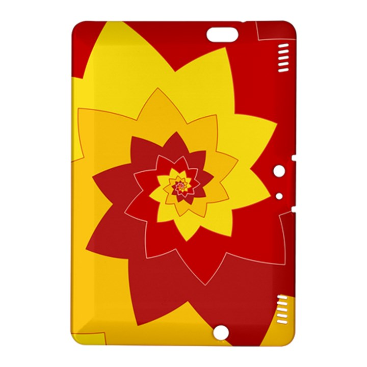 Flower Blossom Spiral Design  Red Yellow Kindle Fire HDX 8.9  Hardshell Case