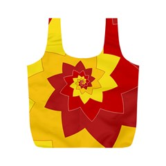 Flower Blossom Spiral Design  Red Yellow Full Print Recycle Bags (m)