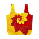 Flower Blossom Spiral Design  Red Yellow Full Print Recycle Bags (M)  Back