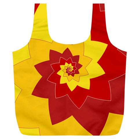 Flower Blossom Spiral Design  Red Yellow Full Print Recycle Bags (L)