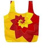 Flower Blossom Spiral Design  Red Yellow Full Print Recycle Bags (L)  Front