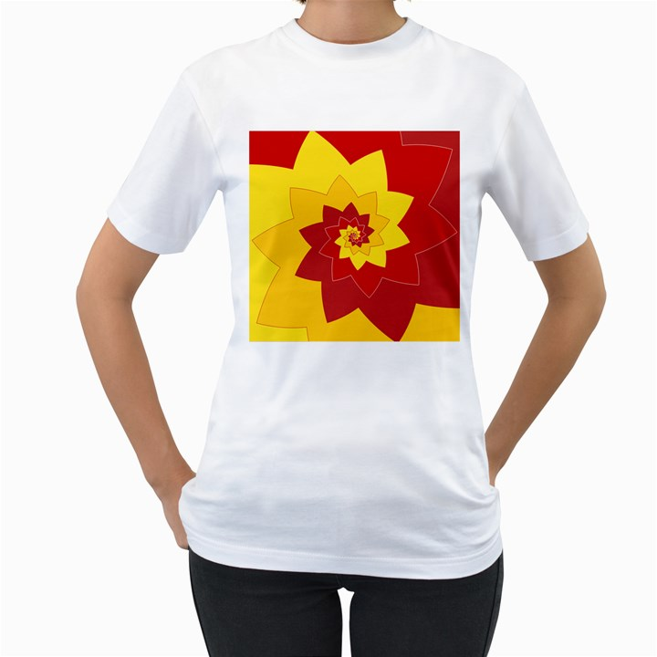 Flower Blossom Spiral Design  Red Yellow Women s T-Shirt (White)
