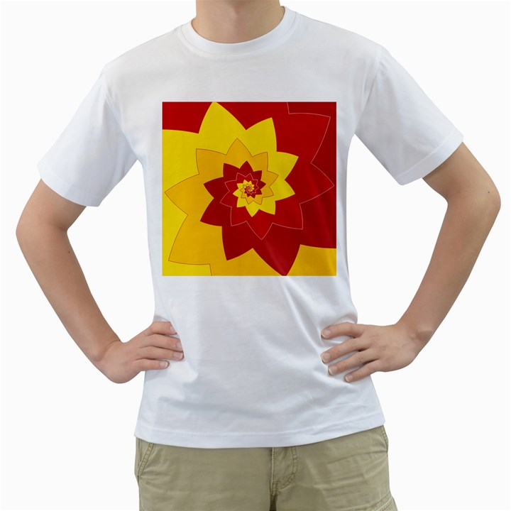 Flower Blossom Spiral Design  Red Yellow Men s T-Shirt (White)