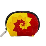 Flower Blossom Spiral Design  Red Yellow Accessory Pouches (Small)  Front