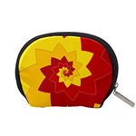 Flower Blossom Spiral Design  Red Yellow Accessory Pouches (Small)  Back
