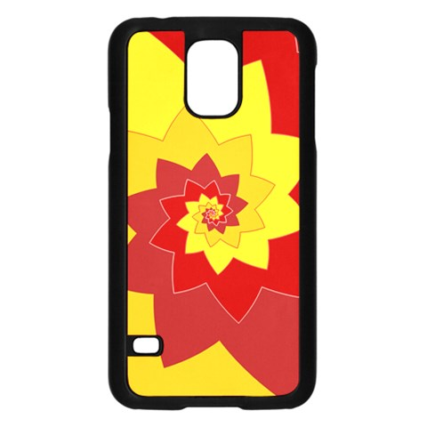 Flower Blossom Spiral Design  Red Yellow Samsung Galaxy S5 Case (Black)