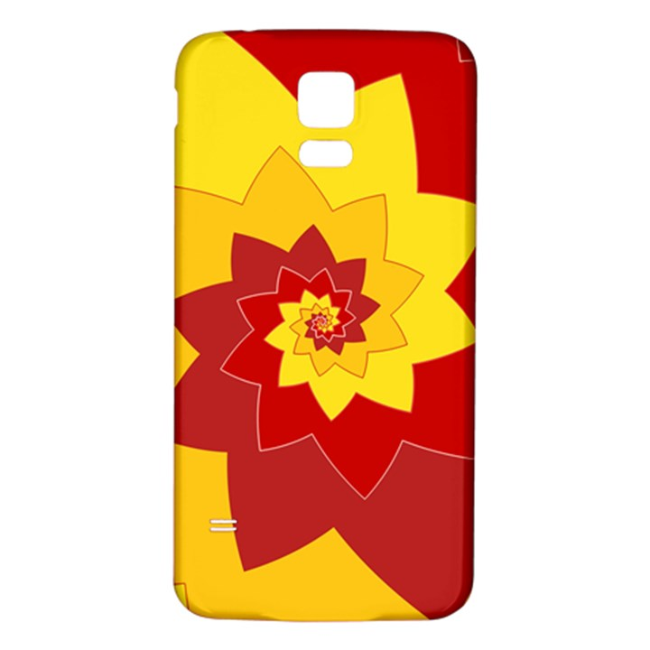 Flower Blossom Spiral Design  Red Yellow Samsung Galaxy S5 Back Case (White)