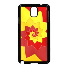 Flower Blossom Spiral Design  Red Yellow Samsung Galaxy Note 3 Neo Hardshell Case (Black)