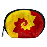 Flower Blossom Spiral Design  Red Yellow Accessory Pouches (Medium)  Front