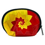 Flower Blossom Spiral Design  Red Yellow Accessory Pouches (Medium)  Back