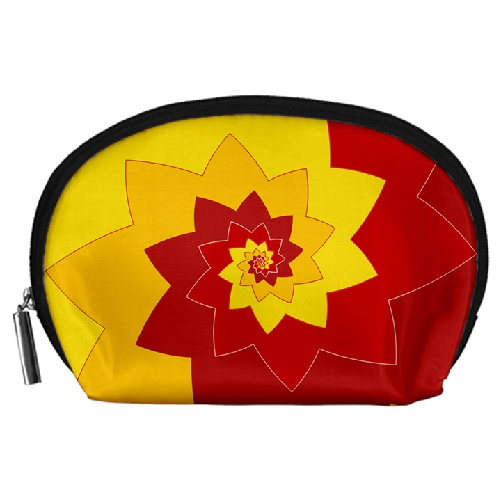 Flower Blossom Spiral Design  Red Yellow Accessory Pouches (Large)