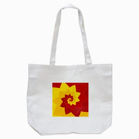 Flower Blossom Spiral Design  Red Yellow Tote Bag (White)