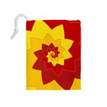 Flower Blossom Spiral Design  Red Yellow Drawstring Pouches (Medium)  Back