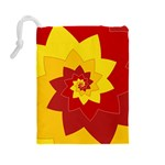 Flower Blossom Spiral Design  Red Yellow Drawstring Pouches (Large)  Back