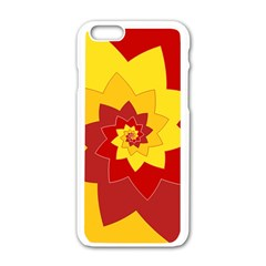 Flower Blossom Spiral Design  Red Yellow Apple iPhone 6/6S White Enamel Case