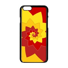Flower Blossom Spiral Design  Red Yellow Apple iPhone 6/6S Black Enamel Case