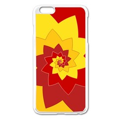 Flower Blossom Spiral Design  Red Yellow Apple iPhone 6 Plus/6S Plus Enamel White Case
