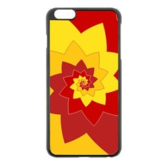 Flower Blossom Spiral Design  Red Yellow Apple Iphone 6 Plus/6s Plus Black Enamel Case
