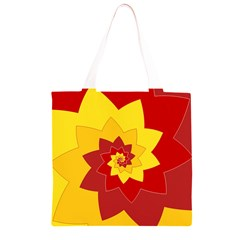 Flower Blossom Spiral Design  Red Yellow Grocery Light Tote Bag