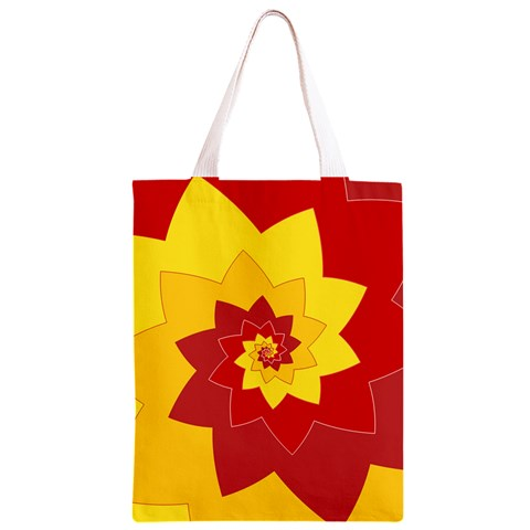 Flower Blossom Spiral Design  Red Yellow Classic Light Tote Bag