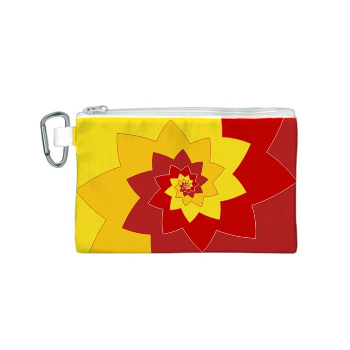 Flower Blossom Spiral Design  Red Yellow Canvas Cosmetic Bag (S)