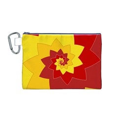 Flower Blossom Spiral Design  Red Yellow Canvas Cosmetic Bag (M)