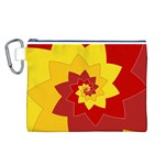 Flower Blossom Spiral Design  Red Yellow Canvas Cosmetic Bag (L) Front