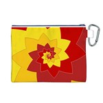 Flower Blossom Spiral Design  Red Yellow Canvas Cosmetic Bag (L) Back