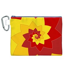 Flower Blossom Spiral Design  Red Yellow Canvas Cosmetic Bag (XL)