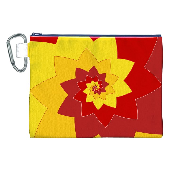 Flower Blossom Spiral Design  Red Yellow Canvas Cosmetic Bag (XXL)