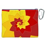 Flower Blossom Spiral Design  Red Yellow Canvas Cosmetic Bag (XXL) Back