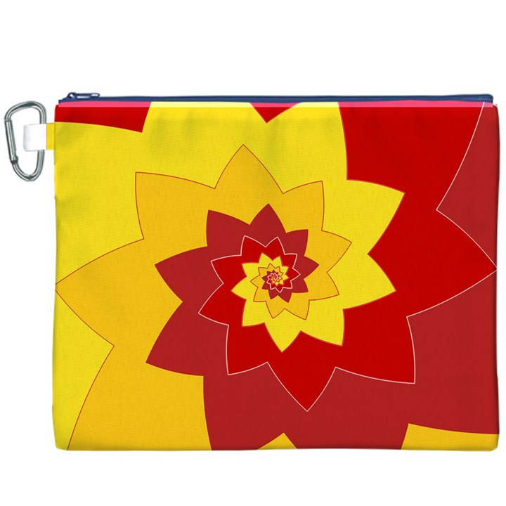 Flower Blossom Spiral Design  Red Yellow Canvas Cosmetic Bag (XXXL)