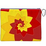 Flower Blossom Spiral Design  Red Yellow Canvas Cosmetic Bag (XXXL) Back