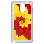 Flower Blossom Spiral Design  Red Yellow Samsung Galaxy Note 4 Case (White) Front