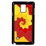 Flower Blossom Spiral Design  Red Yellow Samsung Galaxy Note 4 Case (Black) Front