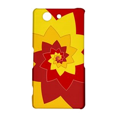 Flower Blossom Spiral Design  Red Yellow Sony Xperia Z3 Compact