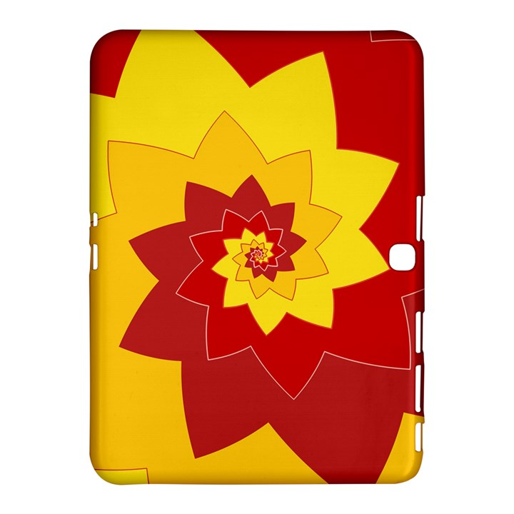 Flower Blossom Spiral Design  Red Yellow Samsung Galaxy Tab 4 (10.1 ) Hardshell Case