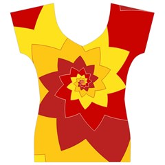 Flower Blossom Spiral Design  Red Yellow Women s V-Neck Cap Sleeve Top