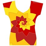 Flower Blossom Spiral Design  Red Yellow Women s V-Neck Cap Sleeve Top Front