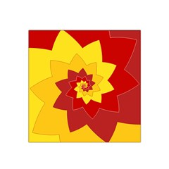 Flower Blossom Spiral Design  Red Yellow Satin Bandana Scarf