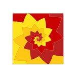Flower Blossom Spiral Design  Red Yellow Satin Bandana Scarf Front