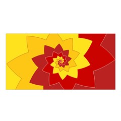 Flower Blossom Spiral Design  Red Yellow Satin Shawl