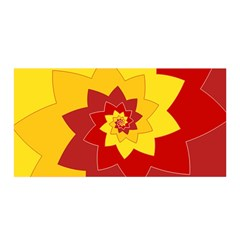 Flower Blossom Spiral Design  Red Yellow Satin Wrap