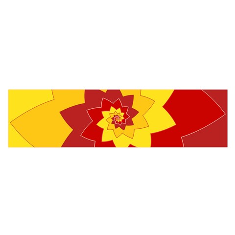 Flower Blossom Spiral Design  Red Yellow Satin Scarf (Oblong)