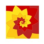 Flower Blossom Spiral Design  Red Yellow Small Satin Scarf (Square) Front