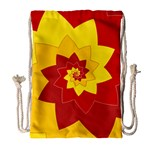 Flower Blossom Spiral Design  Red Yellow Drawstring Bag (Large) Front
