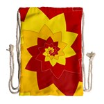 Flower Blossom Spiral Design  Red Yellow Drawstring Bag (Large) Back