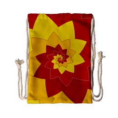 Flower Blossom Spiral Design  Red Yellow Drawstring Bag (small)
