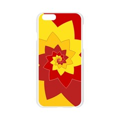 Flower Blossom Spiral Design  Red Yellow Apple Seamless iPhone 6/6S Case (Transparent)