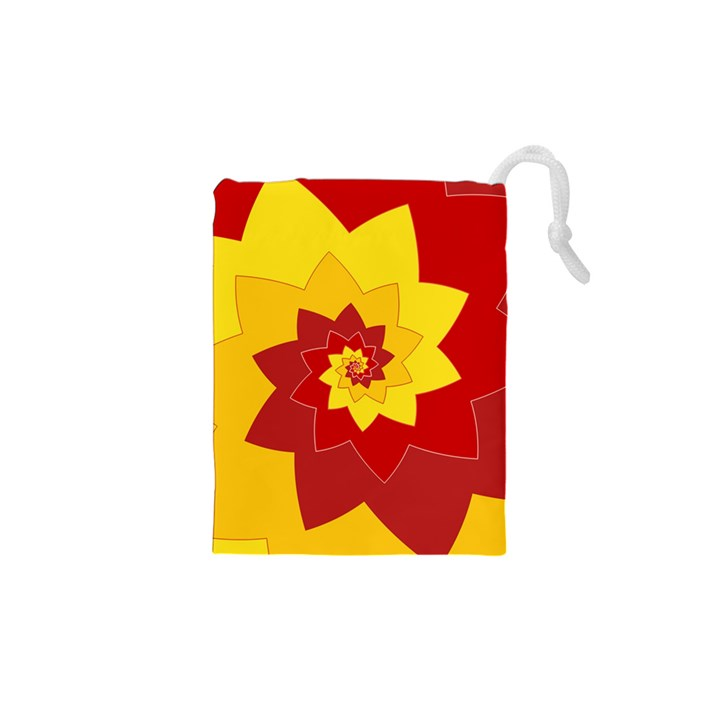 Flower Blossom Spiral Design  Red Yellow Drawstring Pouches (XS)